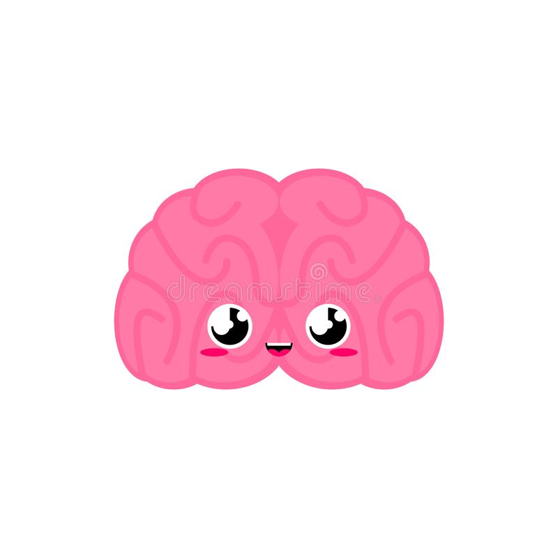Brain Cute. funny internal organ cartoon style. Human anatomy kids character. Childrens style.  vector illustration