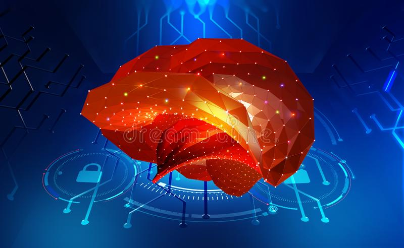 Brain. Cyber mind and Digital Neural Networks. Artificial intelligence. In the civilization of the future. Fantastic 3D illustration stock illustration