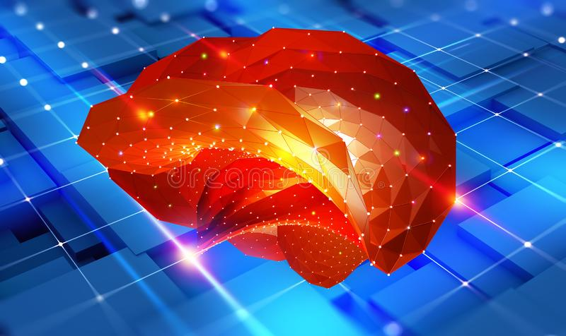 Brain. Cyber mind and Digital Neural Networks. Artificial intelligence in the civilization of the future. Fantastic 3D illustration vector illustration