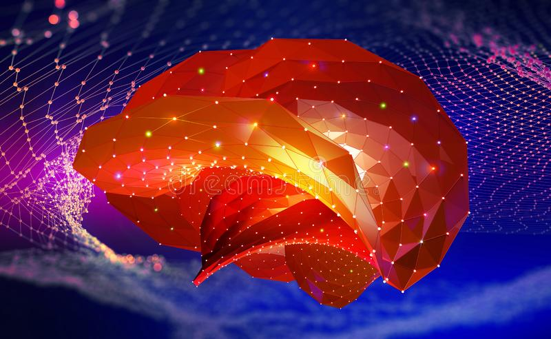 Brain. Cyber mind and Digital Neural Networks. Artificial intelligence in the civilization of the future. Fantastic 3D illustration stock illustration