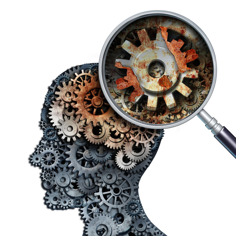 Brain Decline. And dementia or aging as memory loss concept for brain cancer decay or an Alzheimer's disease with the medical icon of a old rusting mechanical vector illustration