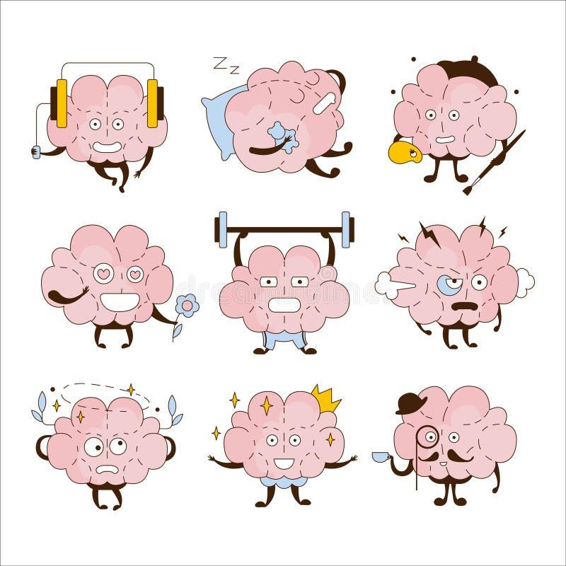 Brain Different Activities And Emoticons symbolsuppsättning stock illustrationer