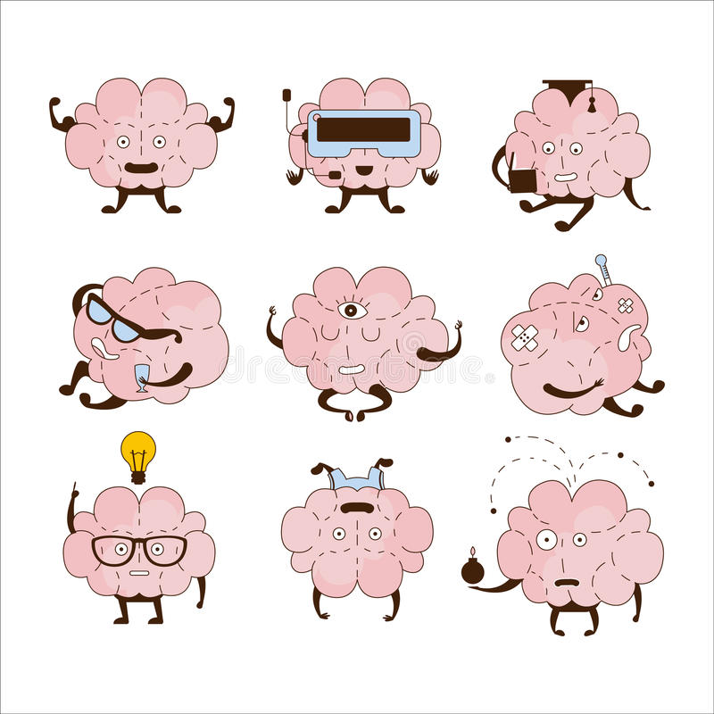 Brain Different Activities And Emotions symbolsuppsättning stock illustrationer