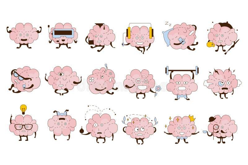 Brain Different Activities And Emotions symbolsupps?ttning vektor illustrationer