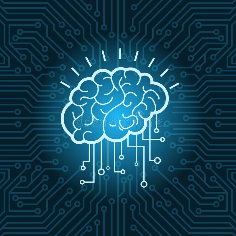 Brain Digital Form Icon Over Blue Circuit Background stock illustration