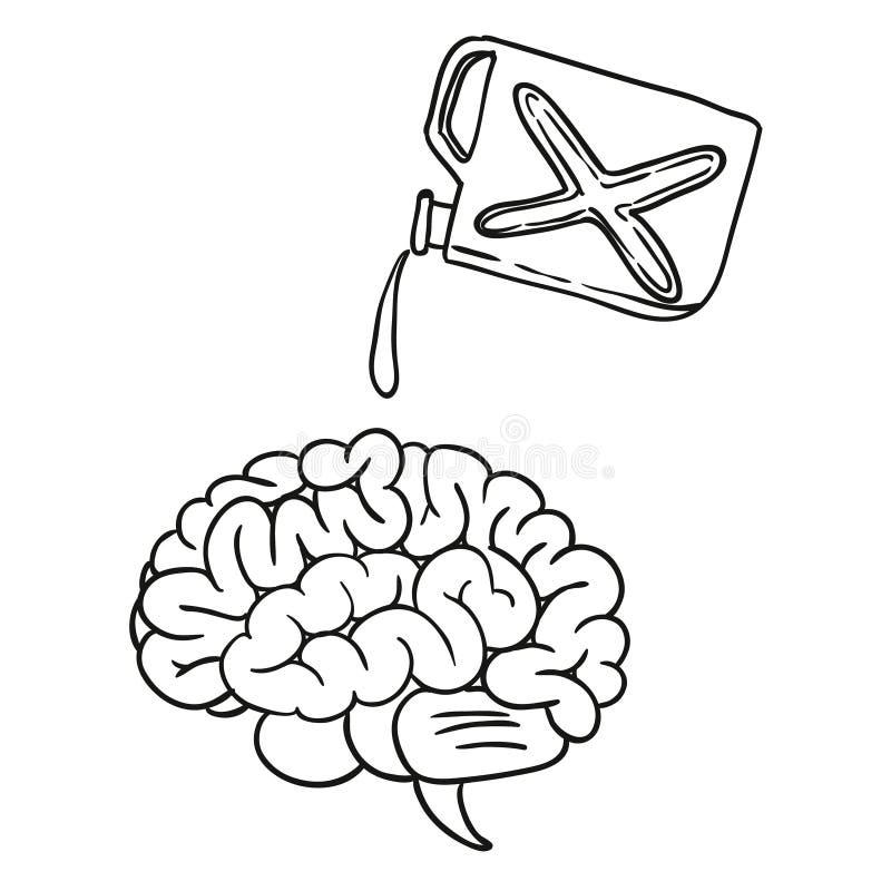 brain doodle hand drawn stock illustration