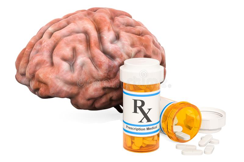 Brain and drugs concept. Human brain with medical bottles and pi royalty free illustration