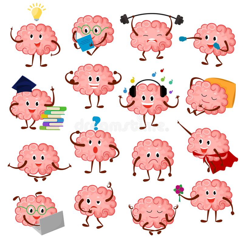 Brain emotion vector cartoon brainy character expression emoticon and intelligence emoji studying illustration. Brainstorming set of businessman or superman royalty free illustration