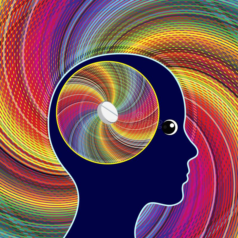 Brain and energy booster. Medication to stimulate mental activities like creativity, alertness or memory of woman vector illustration