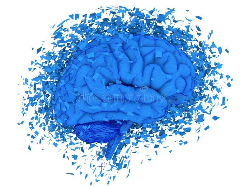 Brain exploding. Human brain exploding over white background, 3d render stock illustration