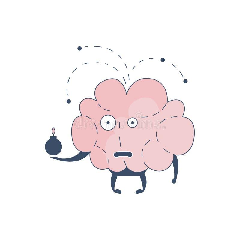 Brain Exploding Comic Character Representing intellekt- och intellektuellaktiviteter av för tecknad filmlägenhet för mänsklig men stock illustrationer