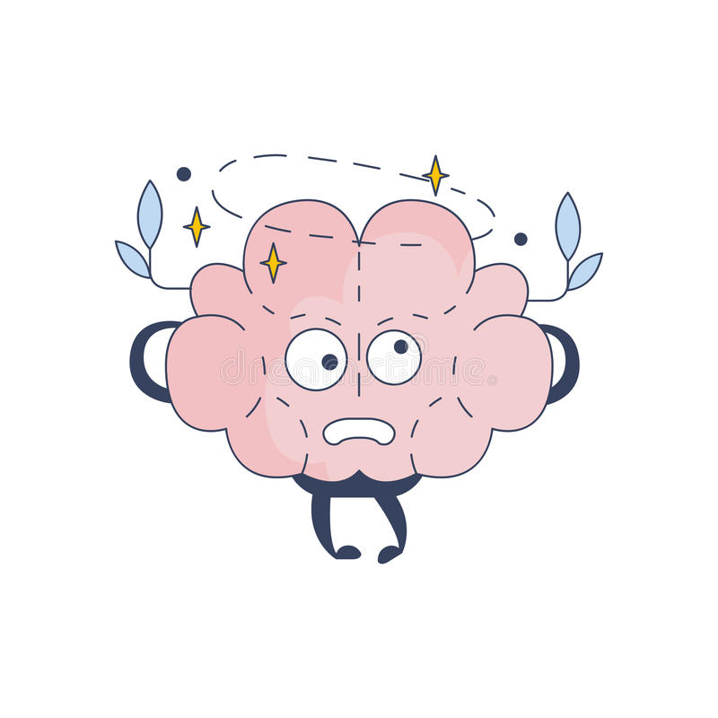 Brain Feeling Dizzy Comic Character som föreställer intellekt- och intellektuellaktiviteter av för tecknad filmlägenhet för mänsk royaltyfri illustrationer