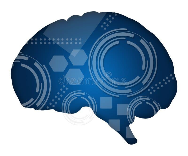 Brain Filled com elementos técnicos ilustração do vetor