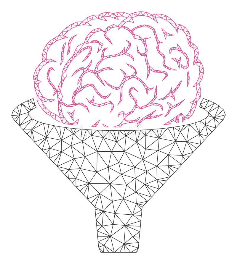 Brain Filter Polygonal Frame Vector Mesh Illustration stock illustration