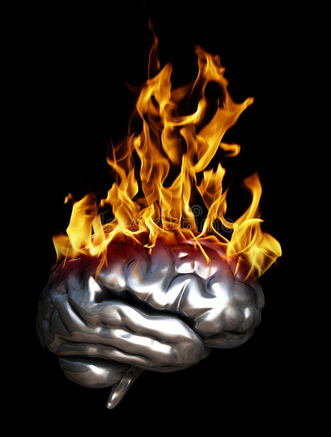 Brain Fire. A 3D Chrome Reflective brain on fire isolated on a black background stock illustration