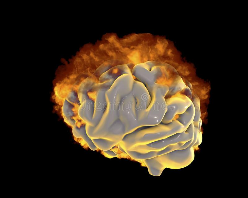 Brain in fire, conceptual image for psychological burnout stock illustration