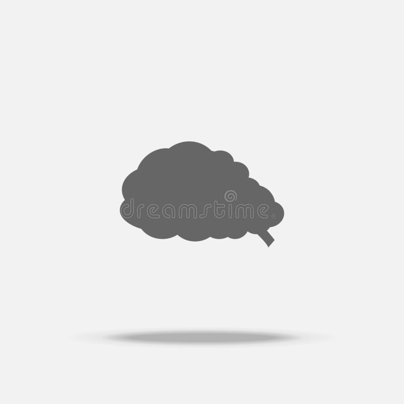 Brain Flat design vector icon with shadow stock illustration