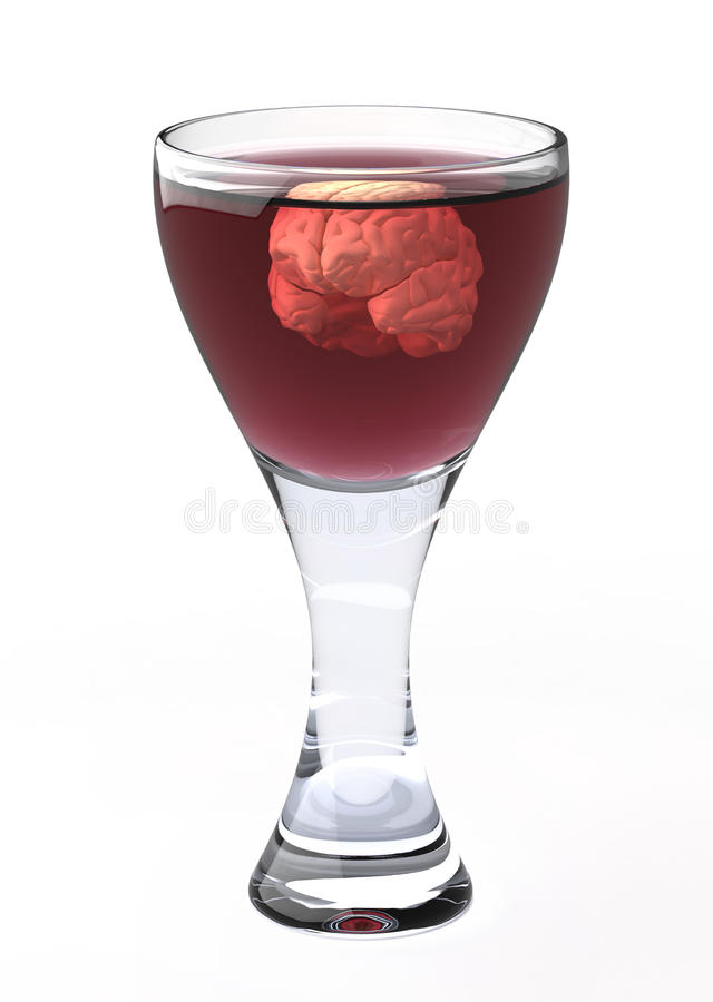 Brain floats in a wineglass royalty free stock photos