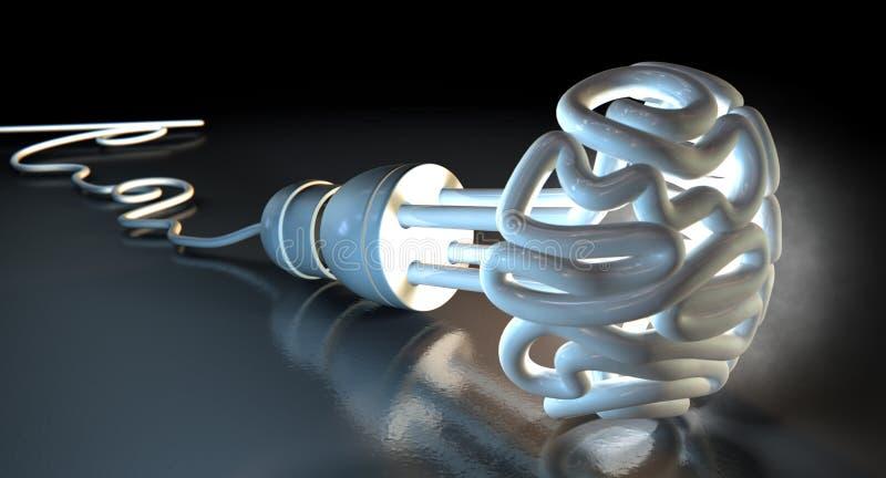Brain Flourescent Light Bulb ilustração royalty free
