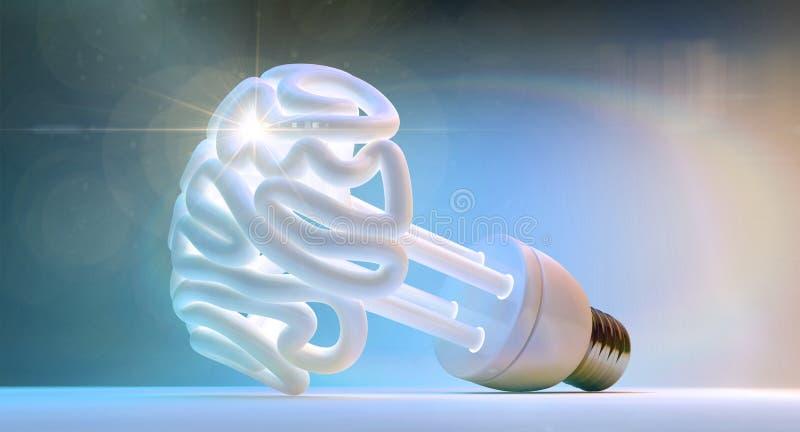 Brain Flourescent Light Bulb stockbilder