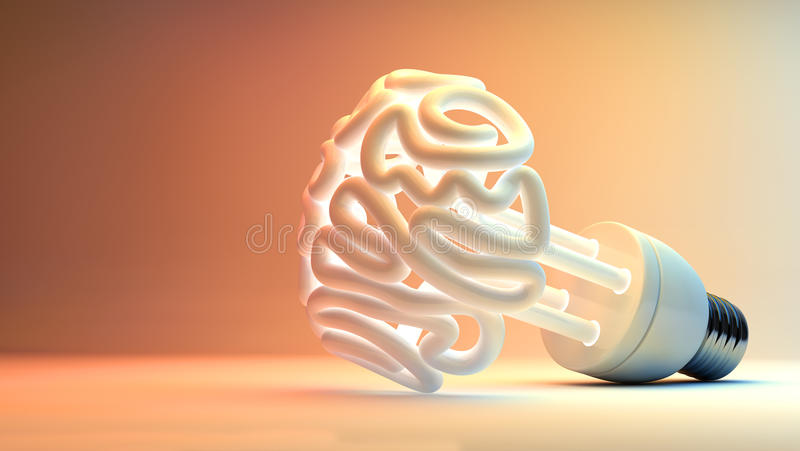 Brain Flourescent Light Bulb royalty free illustration
