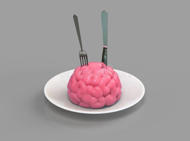 Download Brain food 3D illustration stock illustration. Image of fork - 83702593