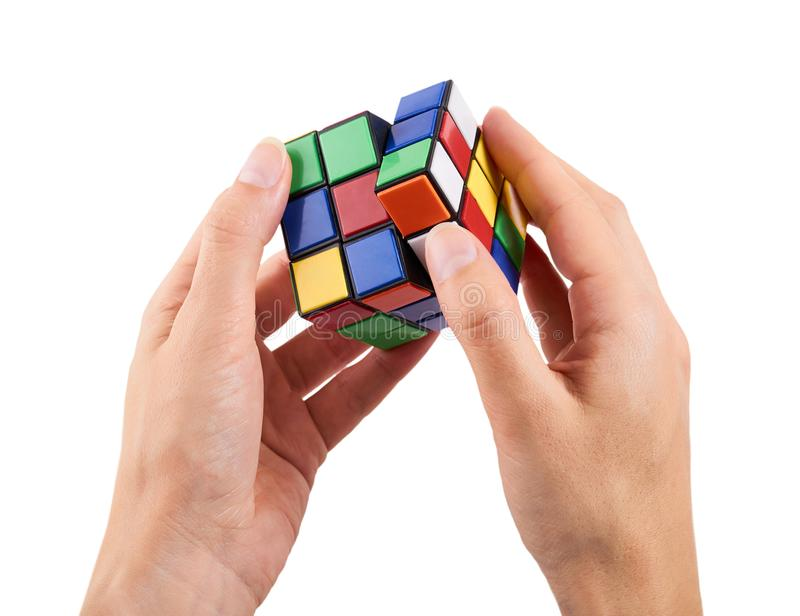 Brain game rubik cube in hand isolated on white background.  stock images