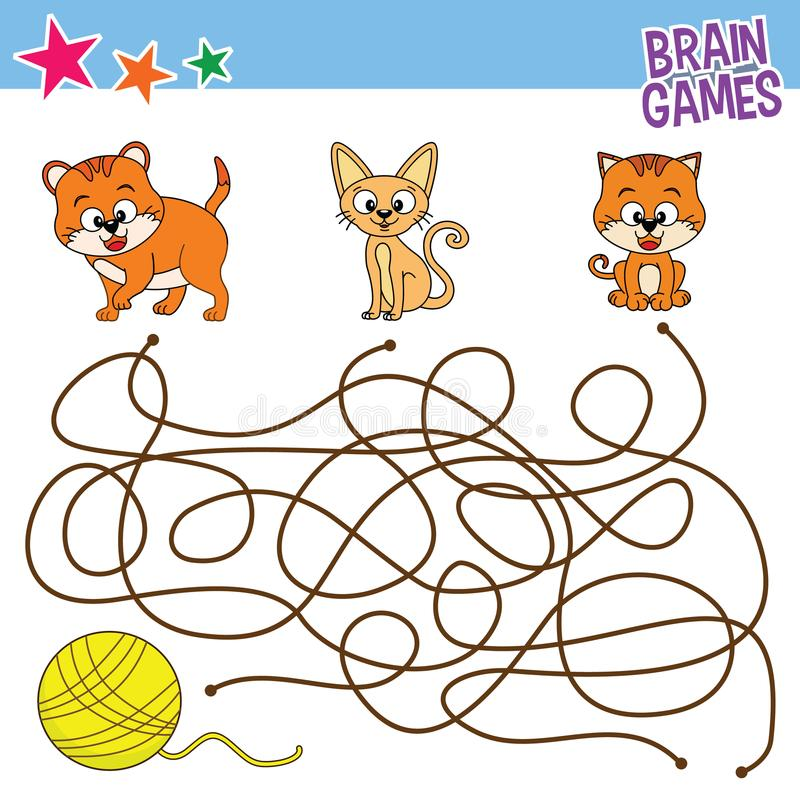 Brain games of cats connecting to toys ball stock image
