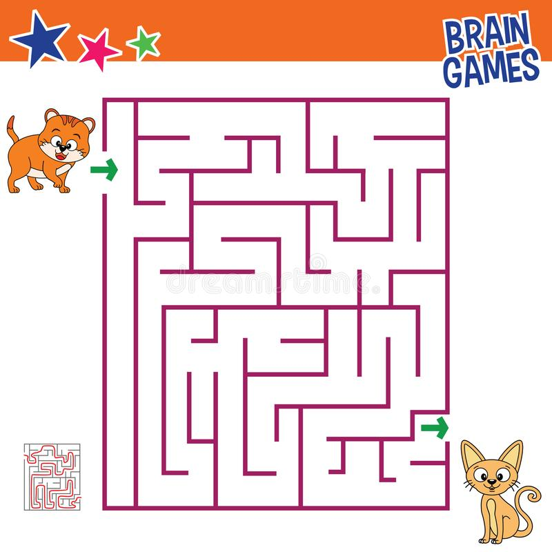Brain games of cats maze royalty free stock photo