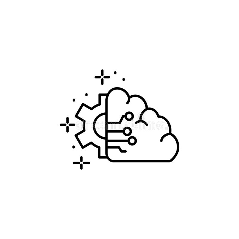 Brain, gear icon. Element of artificial intelligence stock illustration