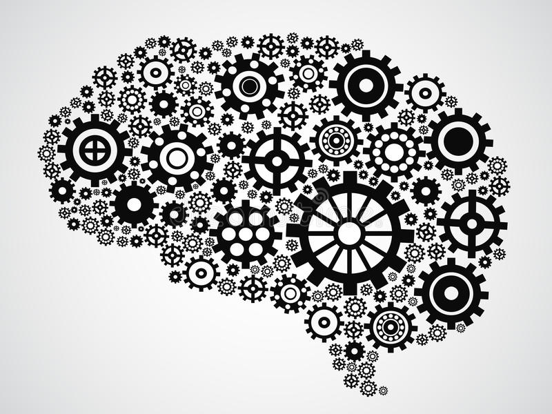 Brain gear. Isolated brain filled with gears from gray background