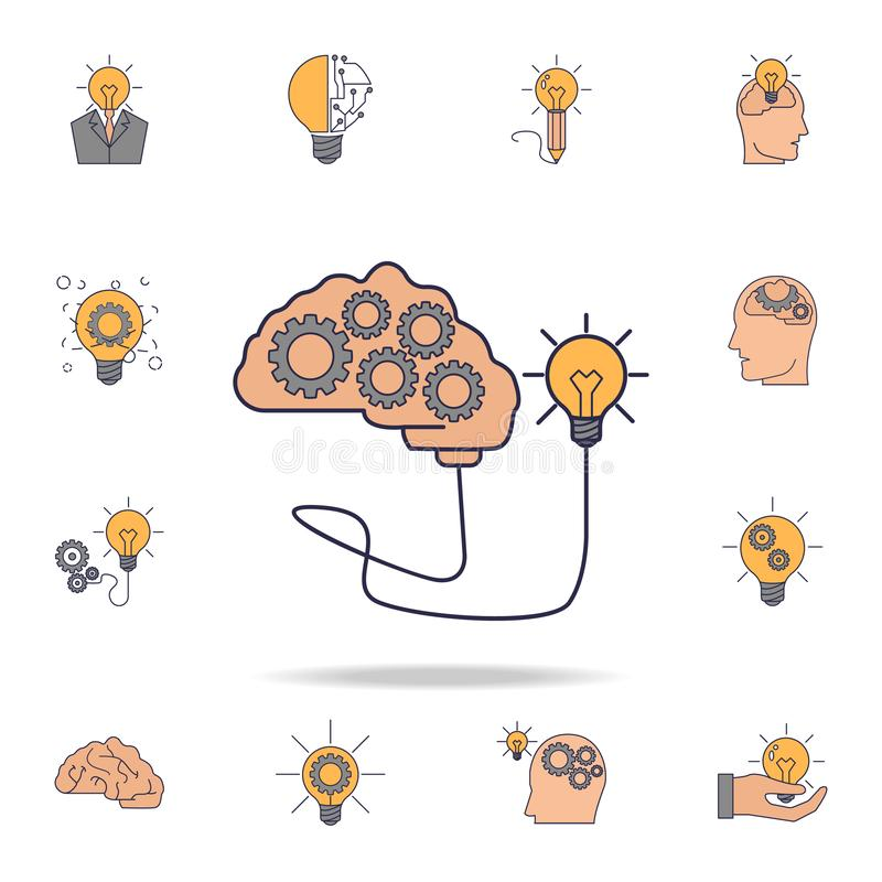 a brain with gears connected to a light bulb fild color icon. Detailed set of color idea icons. Premium graphic design. One of the royalty free illustration