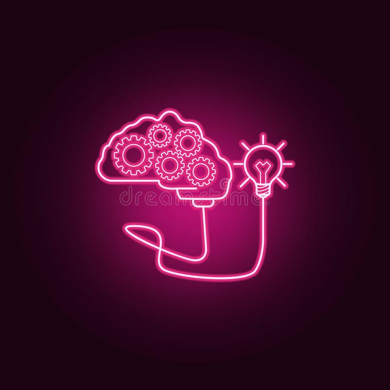 a brain with gears connected to a light bulb neon icon. Elements of Idea set. Simple icon for websites, web design, mobile app, vector illustration
