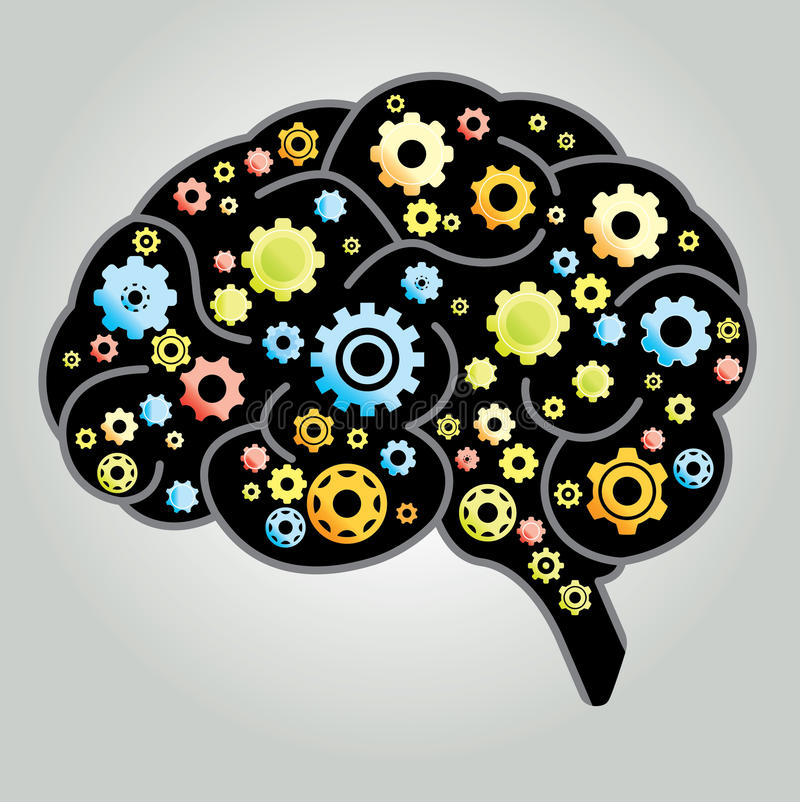Brain Gears. Illustration of Brain with gears royalty free illustration