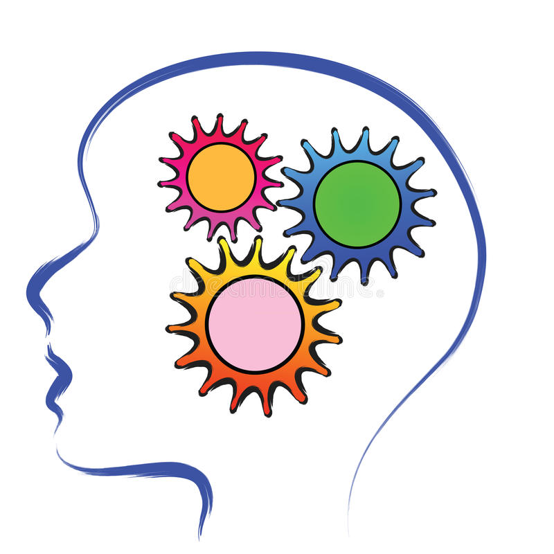 Brain with gears vector illustration
