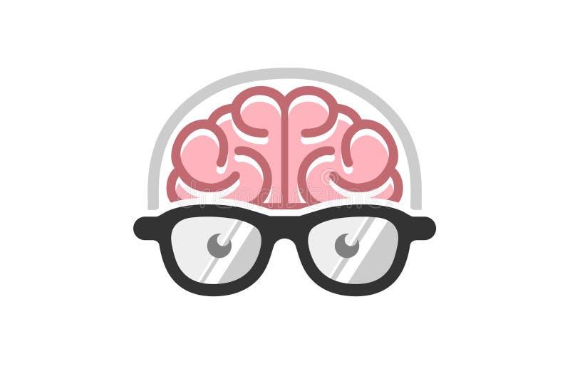 Brain Geek Logo Design vektor abbildung