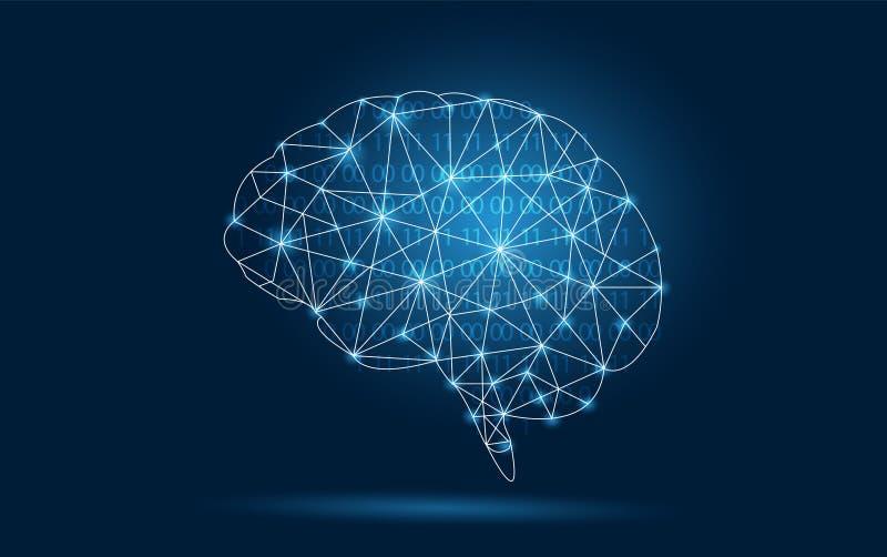 Brain Graphic Binary Blue Technology royalty free illustration