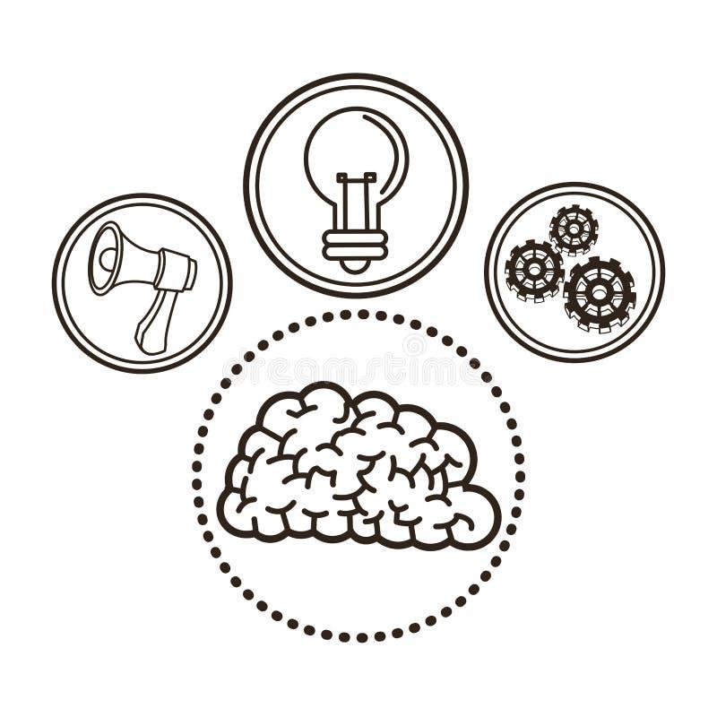 Brain great idea solution sketch design. Bulb megaphone gears brain great idea solution sketch icon. Black white isolated design. Vector illustration vector illustration