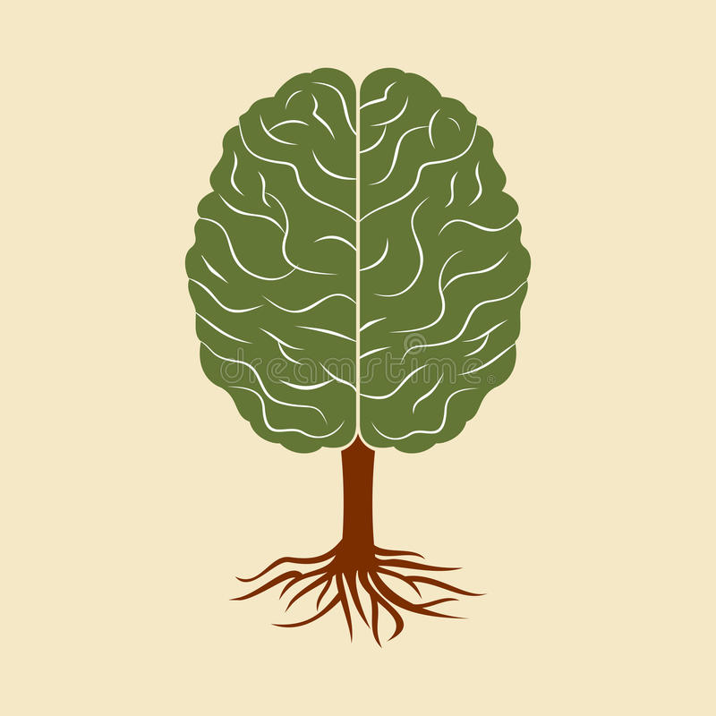 A brain growing in the shape of tree royalty free illustration
