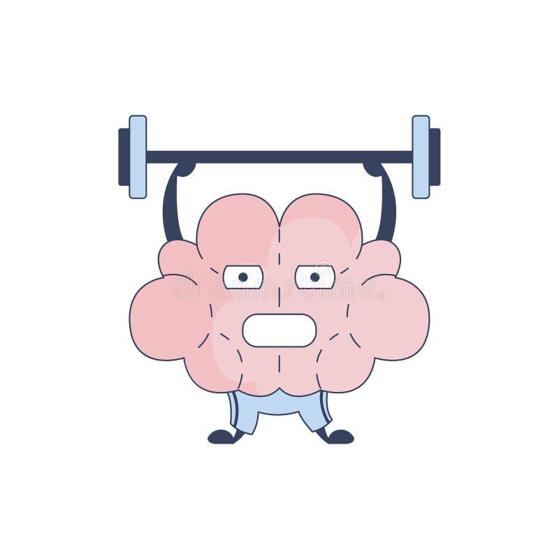 Brain In Gym Doing Weight som lyfter det komiska teckenet som föreställer intellekt- och intellektuellaktiviteter av den mänsklig royaltyfri illustrationer