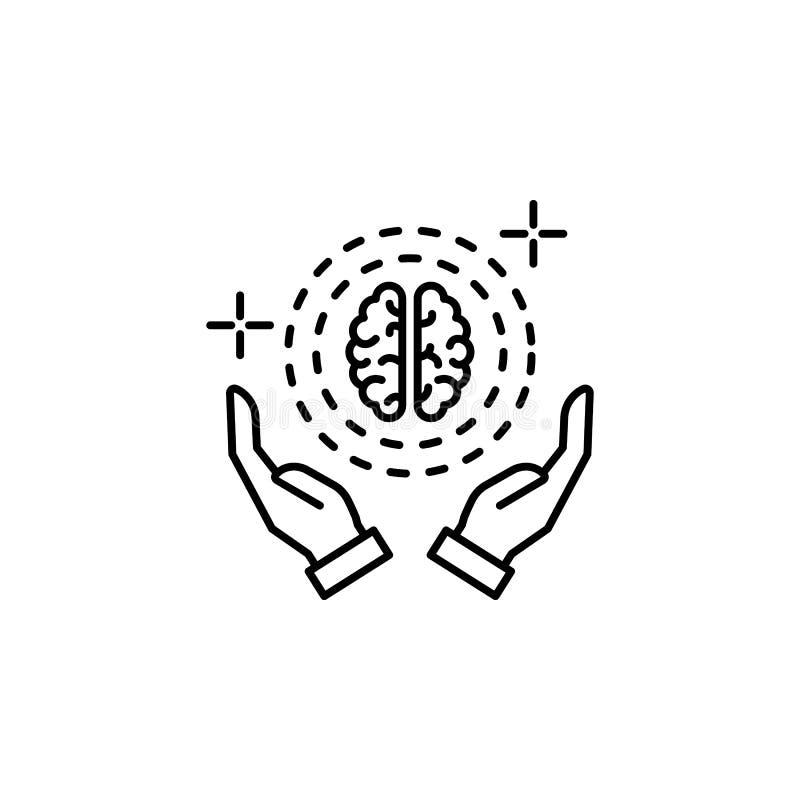 Brain hands icon. Element of brain concept stock illustration