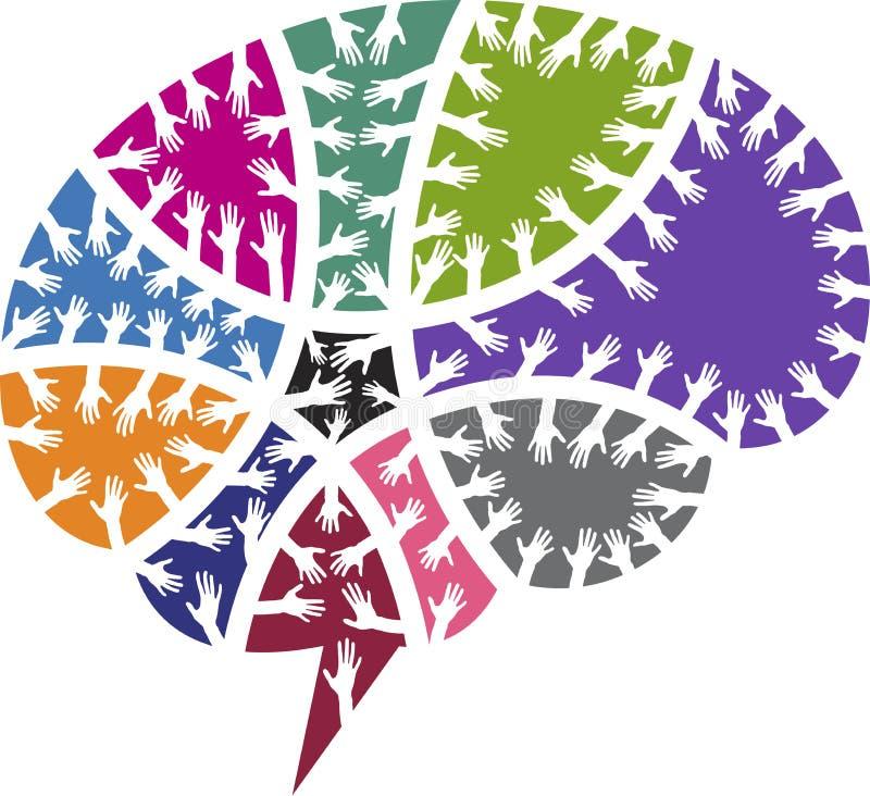 Brain hands logo vector illustration