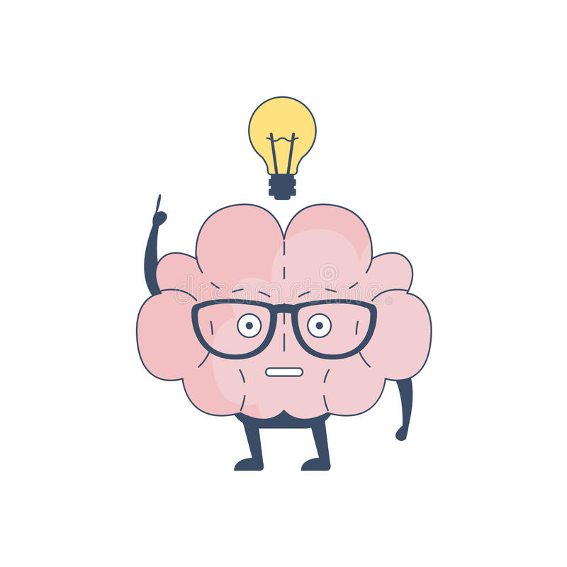 Brain Has And Idea Comic tecken som föreställer intellekt- och intellektuellaktiviteter av för tecknad filmlägenhet för mänsklig  royaltyfri illustrationer
