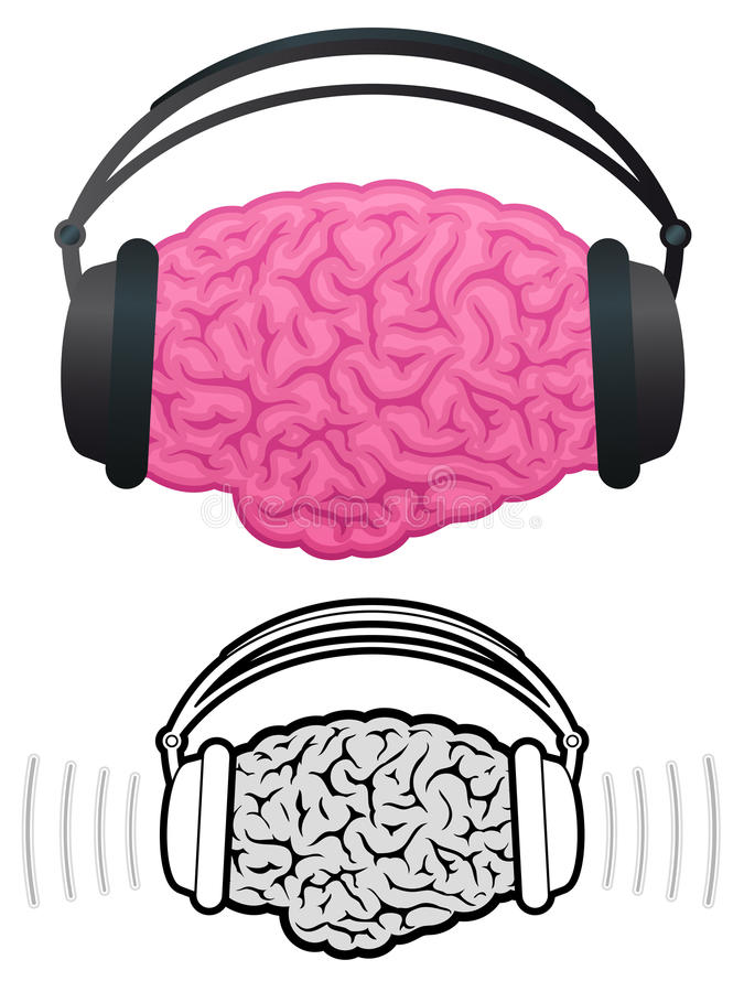 Brain with headphones listening to music royalty free illustration