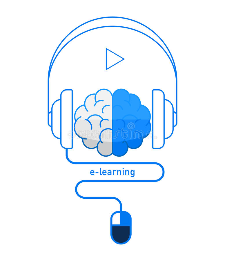 Brain with headphones and mouse in flat design, online learning / e-learning concept. Vector illustration eps-10 stock illustration