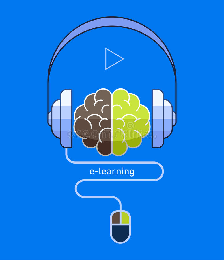 Brain with headphones and mouse in flat design, online learning / e-learning concept. Vector illustration eps-10 royalty free illustration