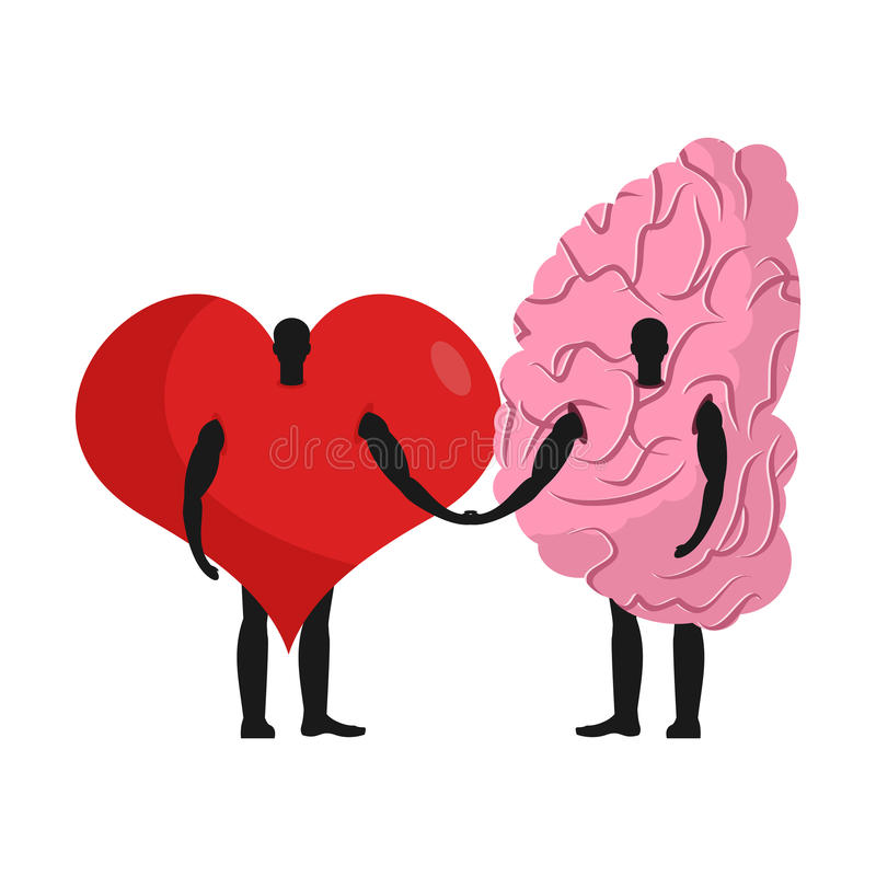Brain and heart friends. Friendship love and reason royalty free illustration