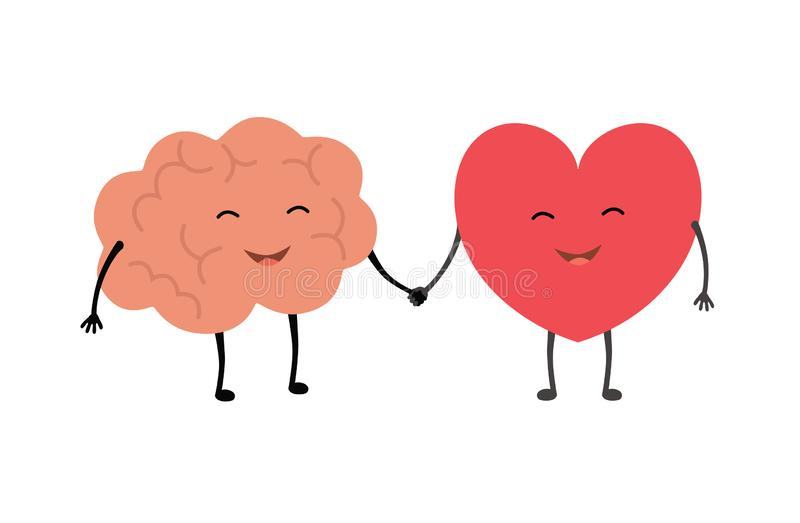 Brain and heart handshake. Vector concept illustration of teamwork between mind and feelings royalty free illustration