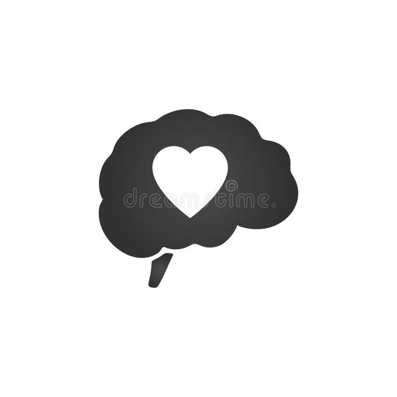 Brain with heart inside. Valentines day, illustration isolated on white background stock illustration