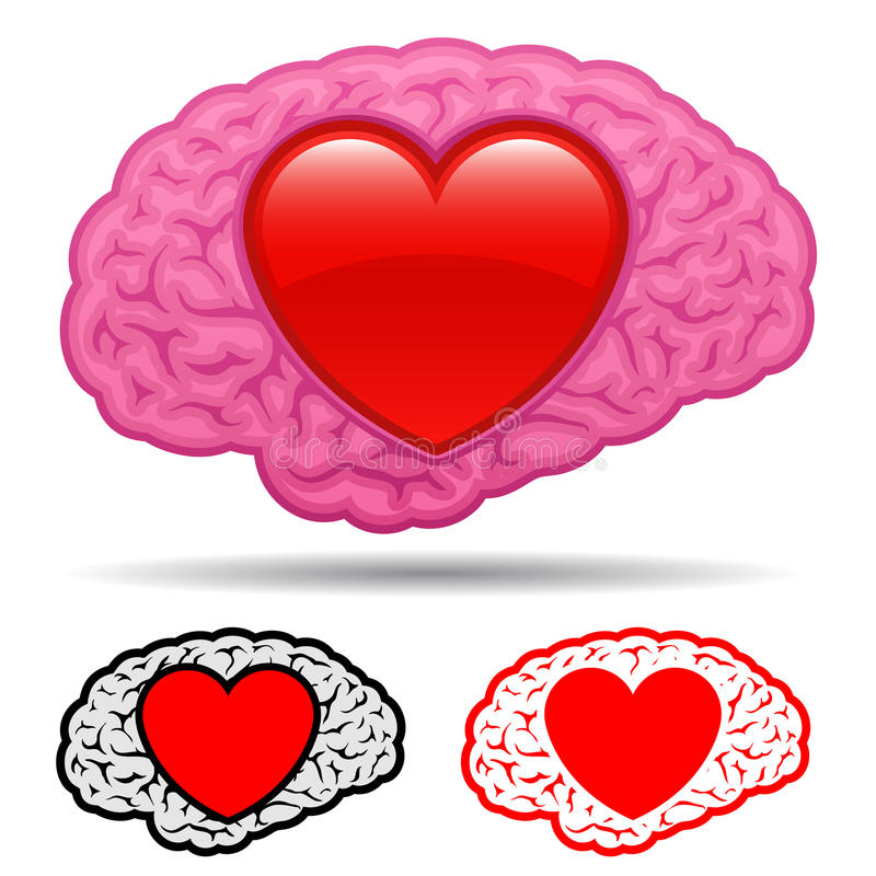 Download Brain With Heart Thinking Of Love Stock Vector - Illustration of platonic, love: 15602843